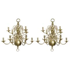 Set of Two Dutch Bronze Antique 12-Arm Candleholder Chandelier, 18th Century