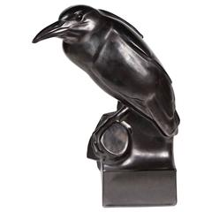 Whimsical Black Raven Ceramic Sculpture by Robert Hainard