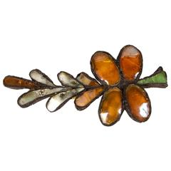"""Rare """"Palm"""" Brooch in Talosel Resin and Glass by Line Vautrin"""