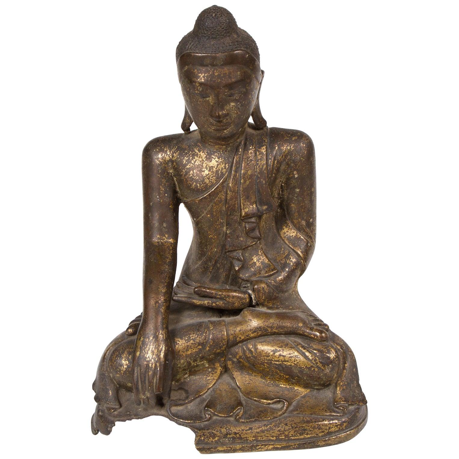 19th Century Patinated and Gilt Bronze Burmese Buddha
