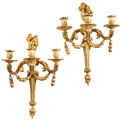 Monumental Pair of Louis XVI Gilt Bronze Wall Sconces Jean-Charles Delafosse