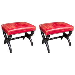 Elegant Pair of French Neoclassical Curule Stools