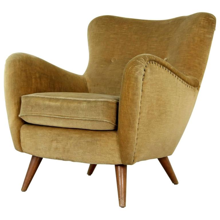 Curved lounge chair from the 1940s in the manner of otto for Curved lounge
