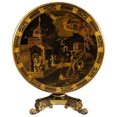 Regency Black Lacquer Tilt-Top Round Chinoiserie Centre Table