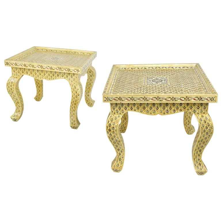 Pair of Bone Inlay Moroccan Style End Tables