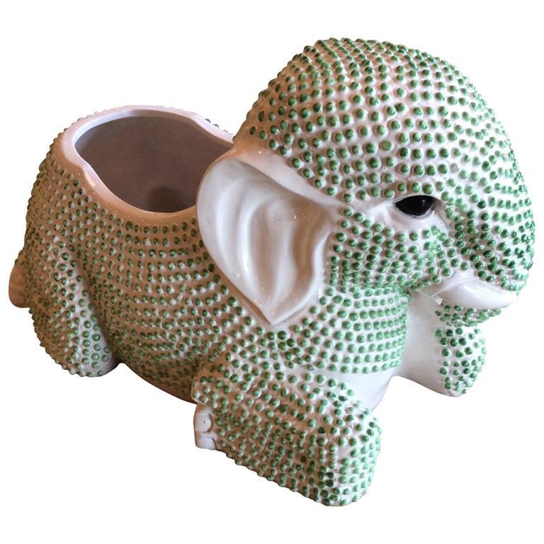 Green Hobnail Elephant Ceramic Planter Pot Vintage Palm Beach Garden Plant For Sale