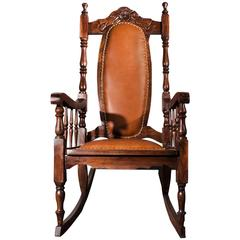 Victorian Era Oak Rocking Chair with Leather, 1890s