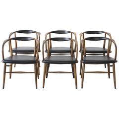 Set of Six Mid-Century Modern Lawrence Peabody Bentwood Dining Chairs