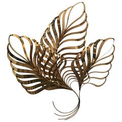 Curtis C. Jere Brass Palm Tree Frond Leaf Wall Hanging Metal Tropical Beach