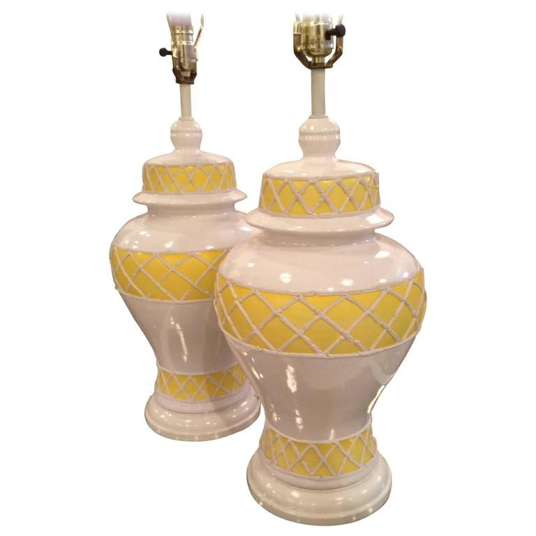 Hollywood Regency Yellow Ginger Jar Table Lamp | Chairish |Yellow Ginger Jar Table Lamps