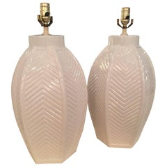 Pair of Vintage Oversized White Ceramic Chevron Table Lamps, Hollywood Regency