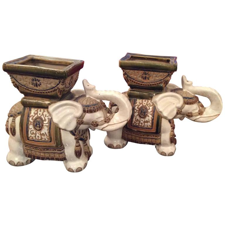 Pair Of Vintage Terra Cotta Elephant Garden Pots, Planters Stands For Sale