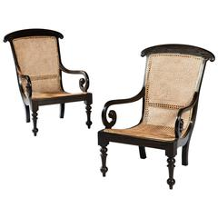 Pair of Ceylonese Solid Ebony Armchairs