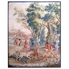 Tapestry of Auvusson, 18th Century, Scene of Hunting at Cours Au Cerf