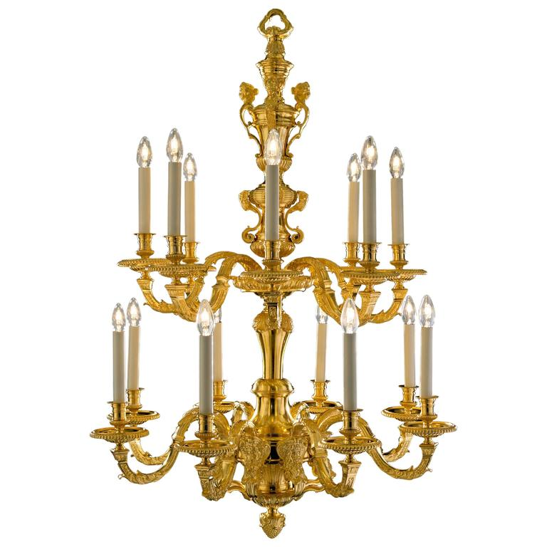 Gilt Metal 16 Branch Two-Tier Chandelier in the Style of Andre Boulle