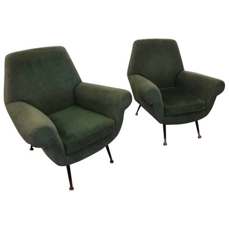 69226a0567889 Pair of Italian Mid-Century Modern Club Chairs at 1stdibs