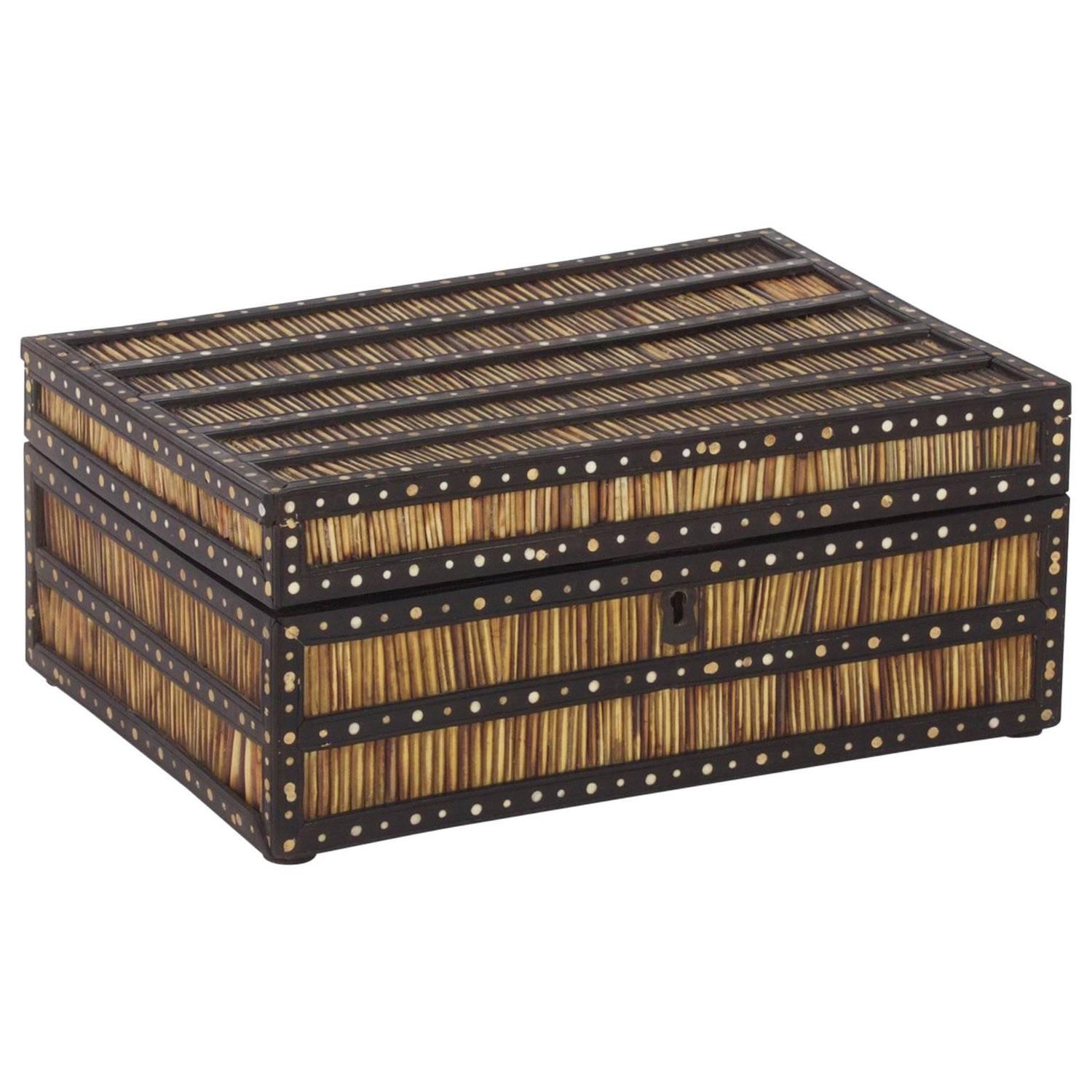 Antique Porcupine Quill Box at 1stdibs