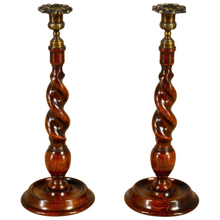 19th Century Pair of Oak Candlesticks