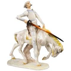 German Porcelain Figure of Don Quixote, circa 1900