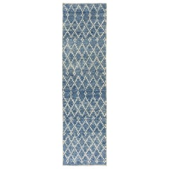 4x14 ft Moroccan Wool Runner Rug in Light Blue Color.  Custom Options Available