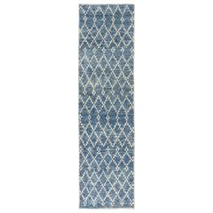 Moroccan Wool Runner in Light Blue Color