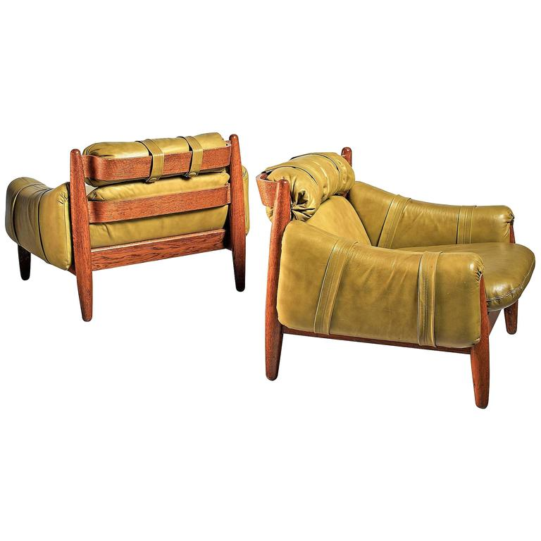 Pair of Oak Lounge Chairs with Green Leather Cushions For Sale