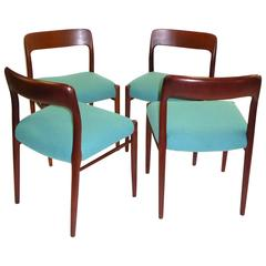 Four Niels Otto Møller Teak Dining Chairs for Jl Møller, 1954