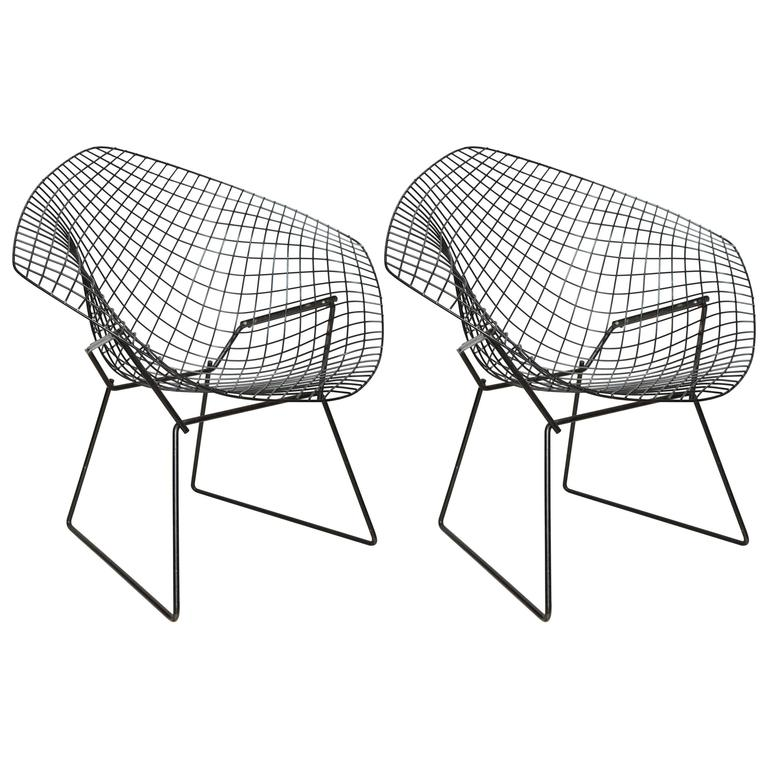 pair of mid century black wire bertoia chairs for knoll for sale