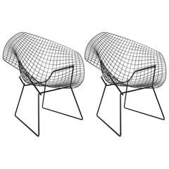 "Pair of Mid-Century Black Wire ""Bertoia"" Chairs, for Knoll"