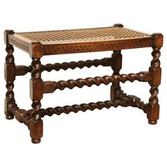 Walnut and Caned Stool with Geometric Frieze and Barley Twist Stretchers