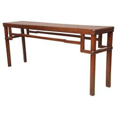 Early 19th Century Chinese Console Table with Shaped Stretcher