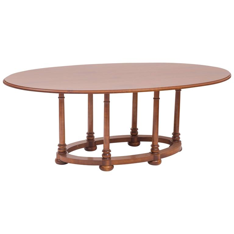 custom antique tiger maple oval dining table for sale at 1stdibs. Black Bedroom Furniture Sets. Home Design Ideas