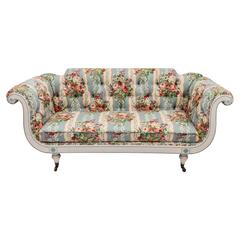 19th Century English Regency Settee in Floral Linen Print Fabric
