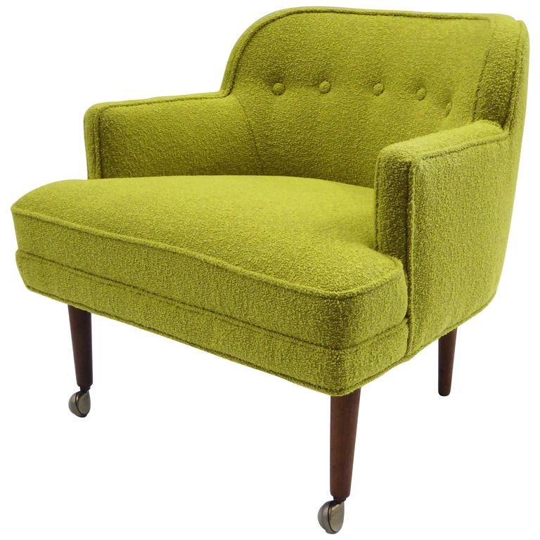 1950s Orla Molgaard Nielsen Style Boucle Upholstered Armchair For Sale