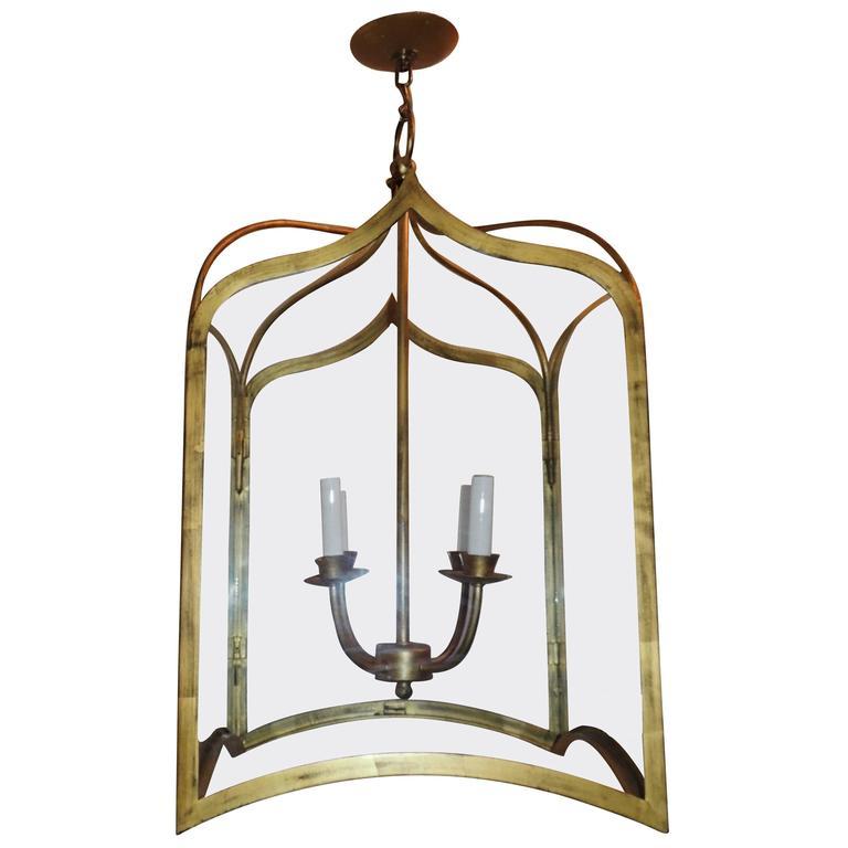 Vintage Mid-Century Modern Large Gilt Jansen Lantern Chandelier Fixture