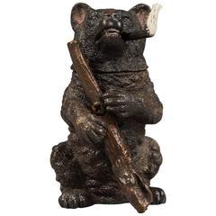 Austrian Bronze Figural Cigar Lighter Modeled as a Bear Holding a Rifle