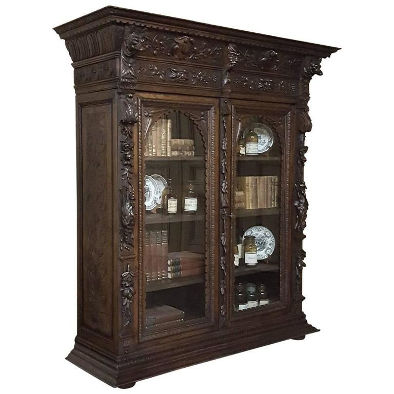 Hand Carved Bookshelf ~ Th century french renaissance hand carved oak hunt