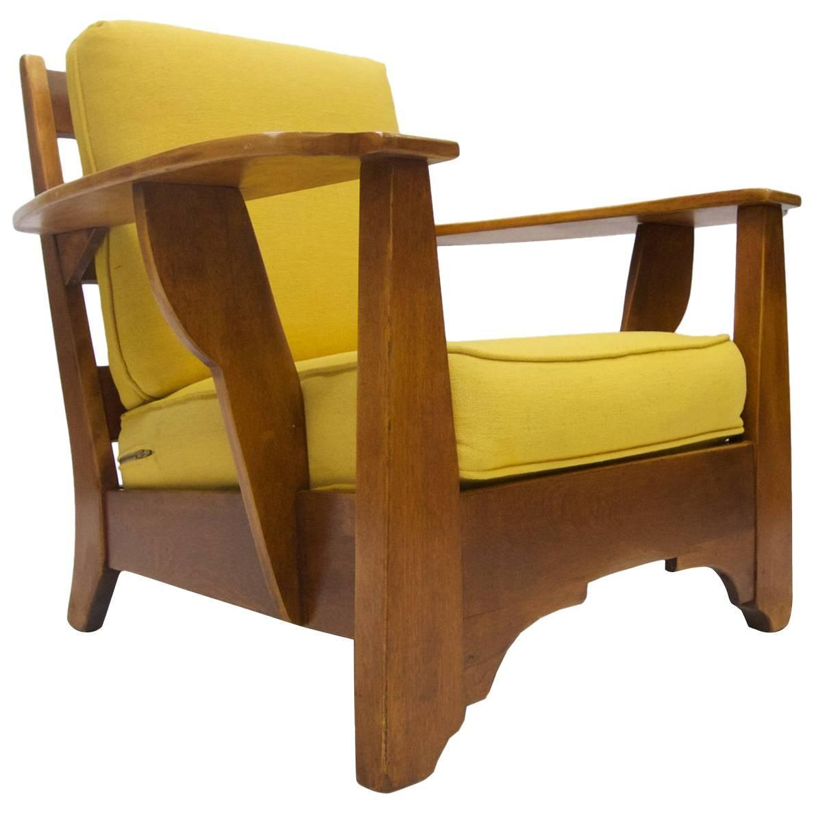 Great Cushman Wide Paddle Arm Lounge Chair In Rock Maple By Herman De Vries For  Sale At 1stdibs
