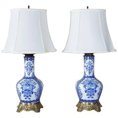 Pair of 19th Century Blue and White Bronze-Mounted Lamps Gien