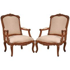 Large Pair of French Louis XV Carved Oak Armchairs with Suede Upholstery
