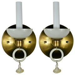 Pair of Murano Mid Century  Opaline Glass Sconce