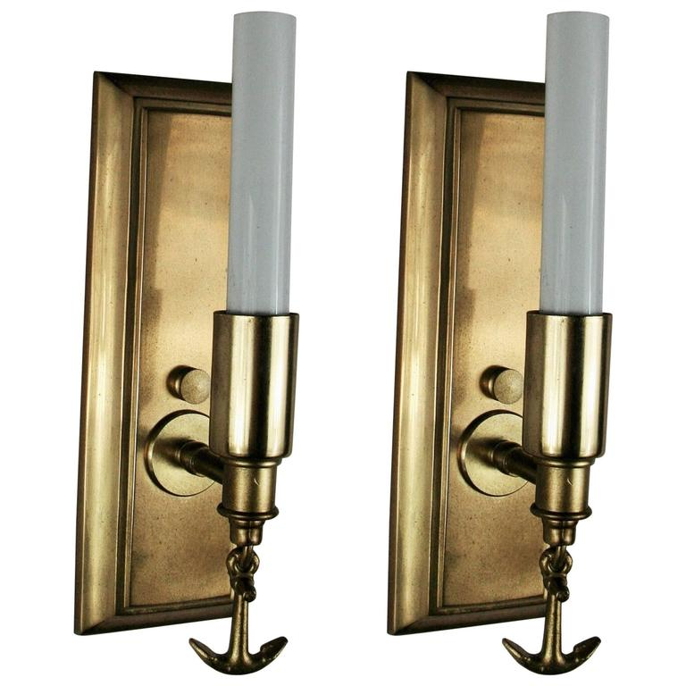 Wall Sconces Nautical: Pair Of Ships Anchor Nautical Brass Sconces For Sale At