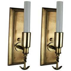 Mid Century Pair of Ships Anchor Nautical Brass Sconces