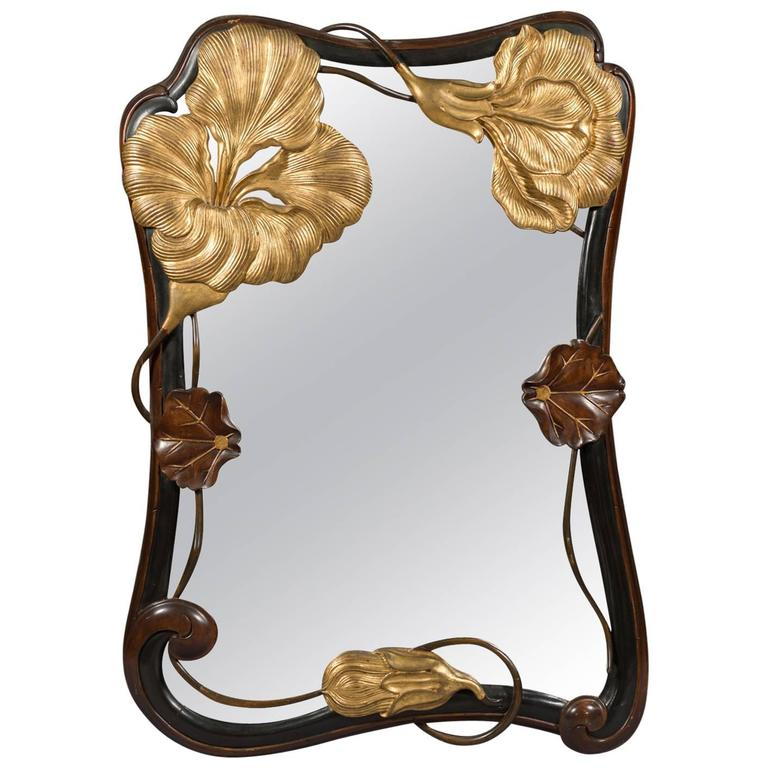 French Art Nouveau Style Carved Lily Pads And Flowers Wall Mirror Circa 1930 For