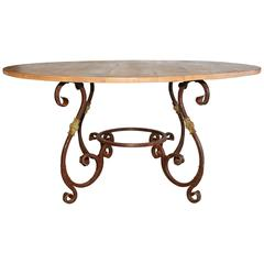 Rustic Outdoor or Indoor Round Teak and Metal Base Dining Table