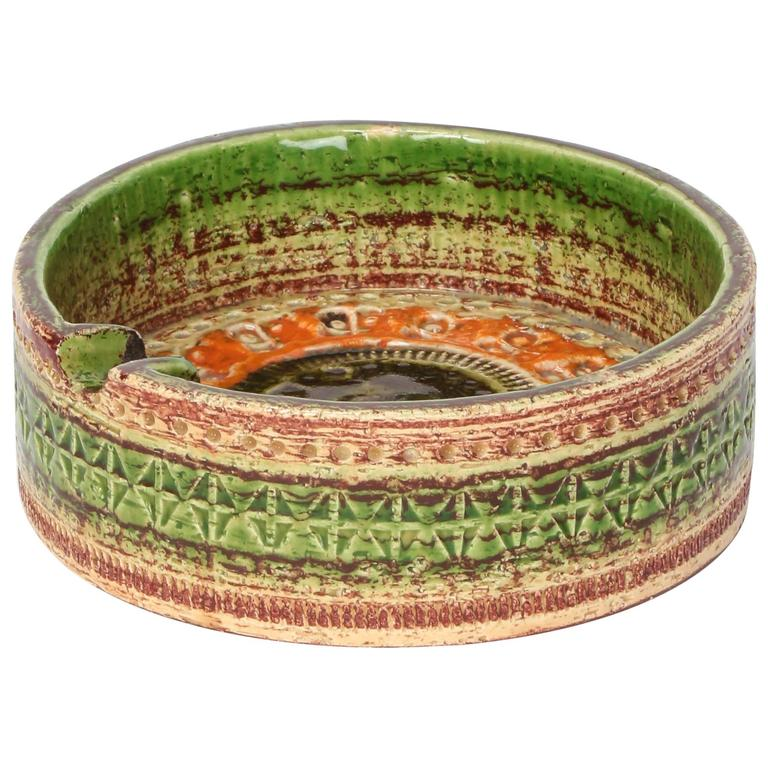Aldo Londi Ceramic Ashtray for Bitossi Sahara Pattern, 1960s