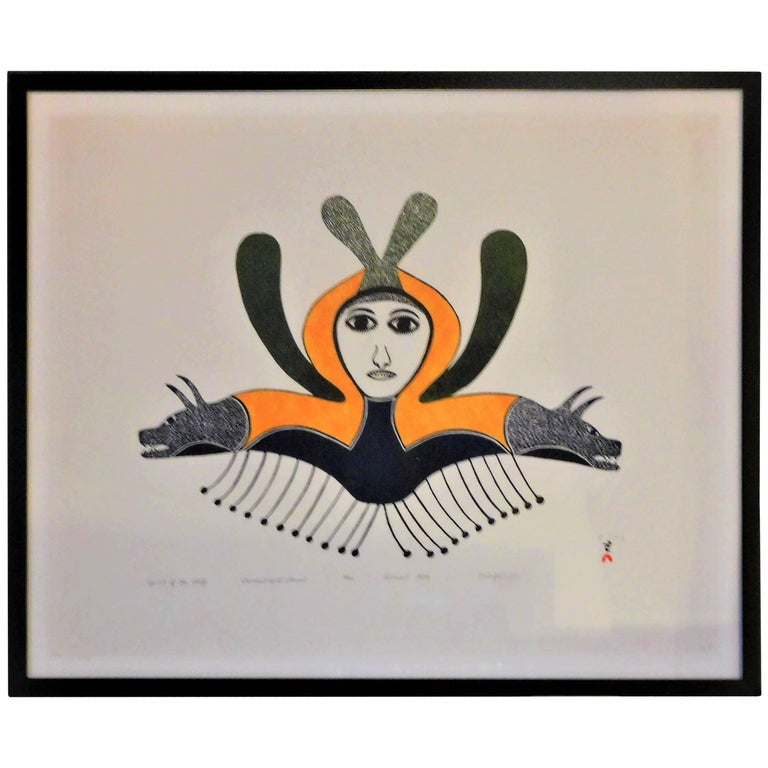 Spirit of the Wolf, Ningeeuga Oshuitoq, Cape Dorset Inuit Art, 1979 For Sale
