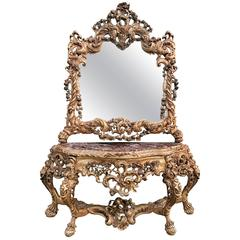 20th Century, French Gilt Wood Console Table and Mirror