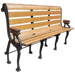French Cast Iron and Oak Train Bench, circa 1910s