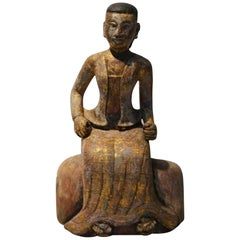Antique Burmese Detailed Hand-Carved Seated Woman Statue